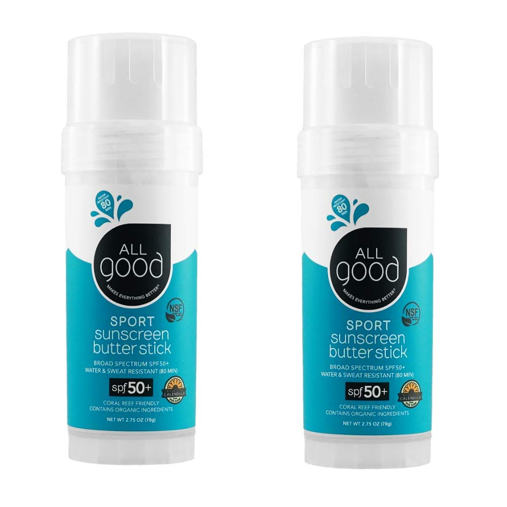 All Good Sports Mineral Sunscreen Butter Stick for Face, Nose, Ears - UVA/UVB Broad Spectrum SPF 50, Coral Reef Friendly, Water Resistant, Zinc Oxide, Coconut Oil, Beeswax, Vitamin E (2.75 oz)(2-pack)