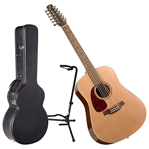 Seagull Coastline S12 Cedar Left Handed Acoustic Guitar w/ Hard Shell Case and Stand - Left Handed 12 String