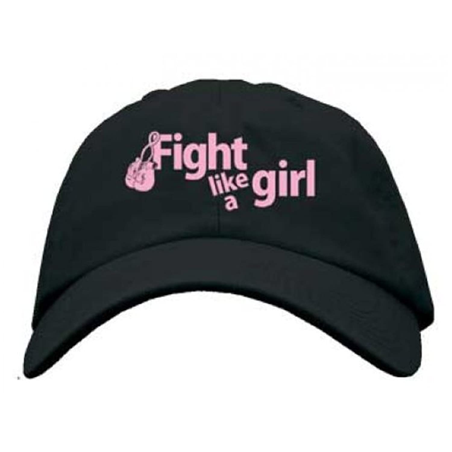 Fight Like a Girl Embroidered Cotton Breast Cancer Awareness Hat - Black