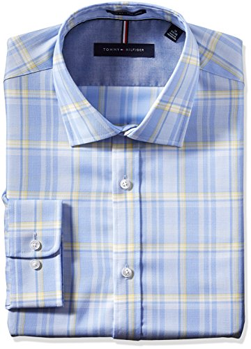 tommy-hilfiger-mens-non-iron-slim-fit-large-plaid-spread-collar-dress-shirt-stream-165-neck-36-37-sl