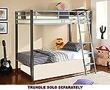 Furniture of America Terano Metal Twin-Over-Twin Bunk Bed, Silver and Gun Metal Finish