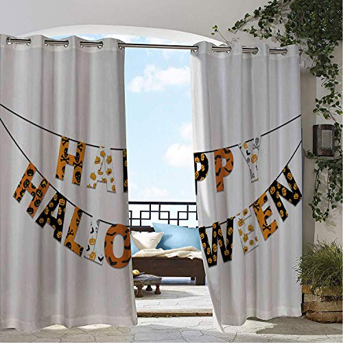 Patio Waterproof Curtain Halloween Happy Halloween Banner Greetings Pumpkins Skull Cross Bones Bats Pennant Orange Black White pergola Grommets Decor Curtains 120 by 108 inch -