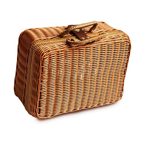 (Simulation Rattan Woven Lunch Bag For Women Men Travel Outdoor Vintage Fashion Storage Hand Box Picnic Tote Gift Bags A)