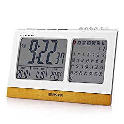 Evistr T-060 Desk Digital Alarm Clock with Calendar & Temperature Display Powered by 3 AAA Battery