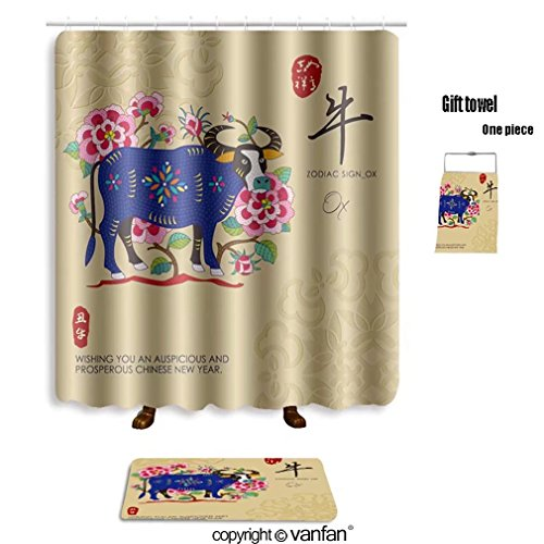 Vanfan Bath Sets With Polyester Rugs And Shower Curtain Chinese Zodiac Signs Of Ox