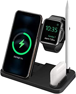 Wireless Charger 4 in 1 Fast Charging Dock for Apple iWatch Series SE 6/5/4/3/2/1,Apple AirPods Pro 2/1 and Pencil, Compatible for iPhone 12/12 Pro Max/11/11 Pro/XR/XS/X/8/8 Plus/Samsung