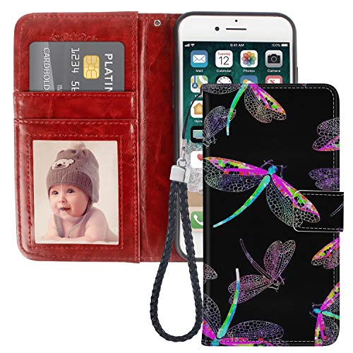 LingHan iPhone 7 8 Dragonfly Wallet Case PU Leather Cover Shockproof and Multi Slots Magnetic Flip Card Holder Case for iPhone 7 8 1X