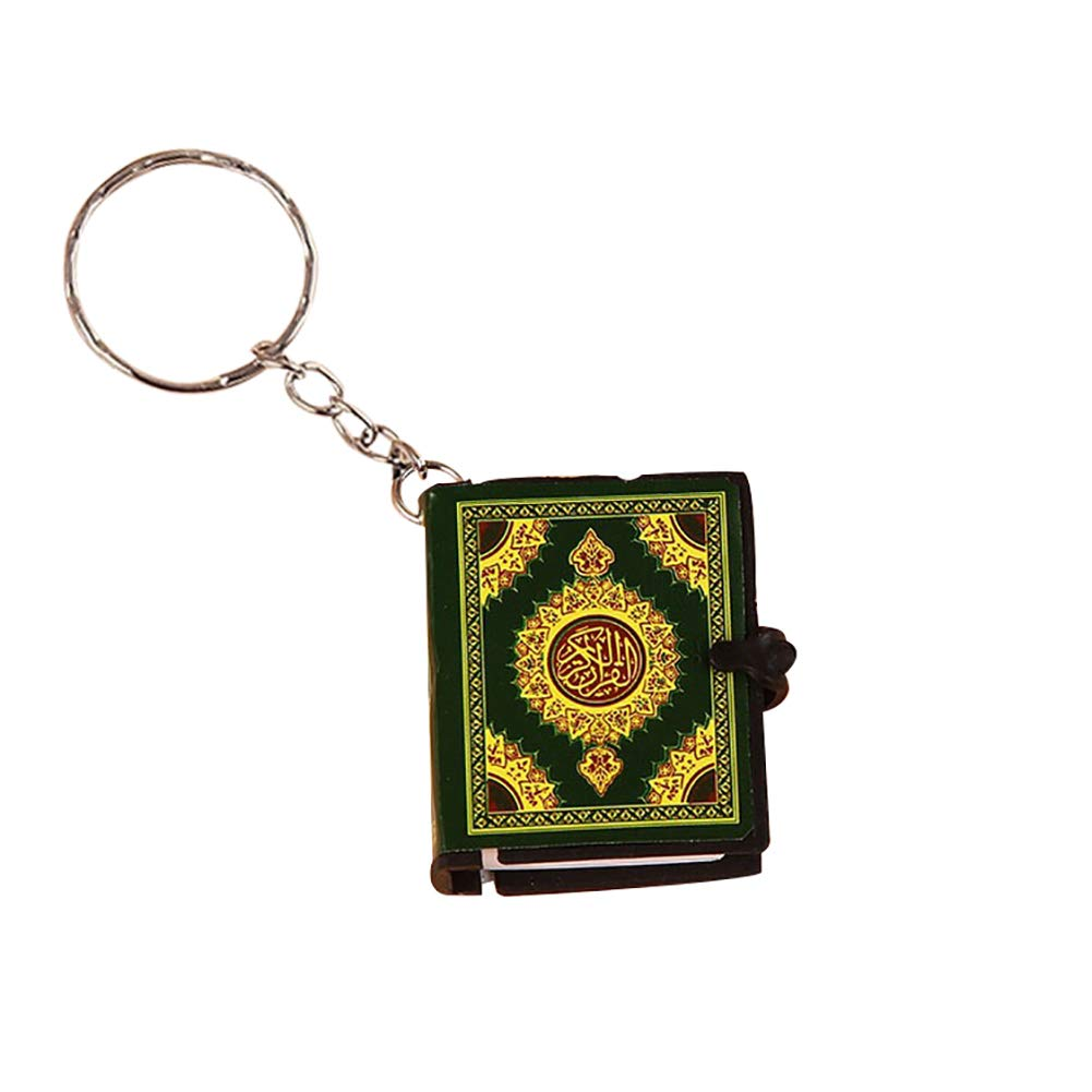 Eqxinfeng Unisex Mini Quran Arabic Book Key Chain Ring Car Bag Purse Phone Pendant,Keyring Hanging Baubles Pendant Ornament Decorations Accessories Gift Golden