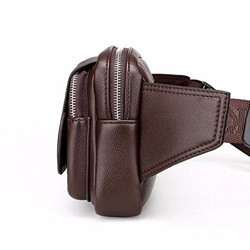de cintura Solo Mobile bolsa ocio hombro bolsillo Brown de Bolso Surnoy de de capacidad Brown cuero de transversal hombres Bag Brown Phone gran sección Black pecho los de fzdZ1qw