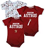 Outerstuff Houston Astros MLB Unisex Baby Infants (0-18 Months) 3 Pack Bodysuit Set, Brick Red/White