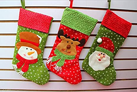 clearance sale set of 3 classic christmas 3d large stockings 18 cute santas toys - Christmas Stockings On Sale