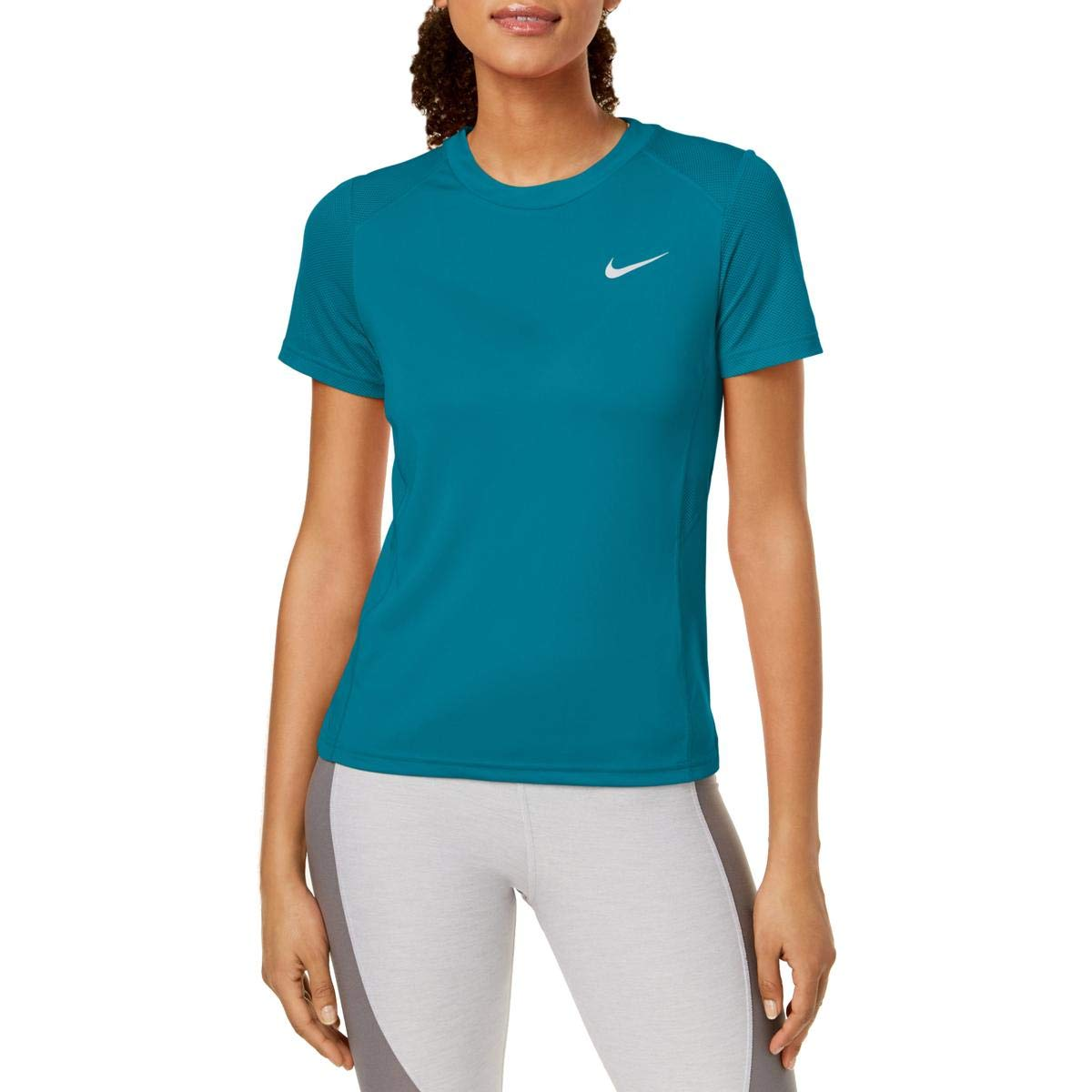 Amazon.com: Nike Womens Miler Yoga Fitness T-Shirt Blue S ...
