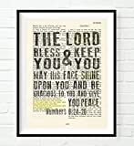 numbers art print - The Lord Bless you & keep you - Numbers 6:24-26 Christian ART PRINT, UNFRAMED, Vintage Bible verse scripture -Blessing prayer dictionary wall & home decor poster gift, 8x10 inches