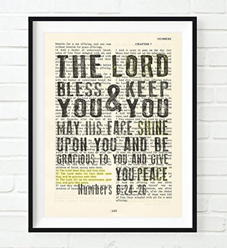 The Lord Bless you & keep you - Numbers 6:24-26 Christian ART PRINT, UNFRAMED, Vintage Bible verse scripture -Blessing prayer dictionary wall & home decor poster gift, 8x10 inches