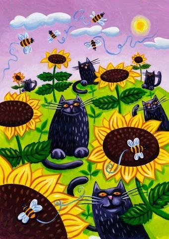 Wallmonkeys Black Cats Watching Honeybees on Sunflowers