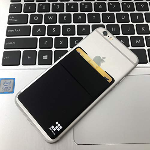 [2pc] Phone Card Wallet - Ultra-slim Self Adhesive Double Secure RFID-Blocking Phone Pocket,Credit Card Holder Sleeves Phone wallet sticker For All Smartphones (Black) Photo #5