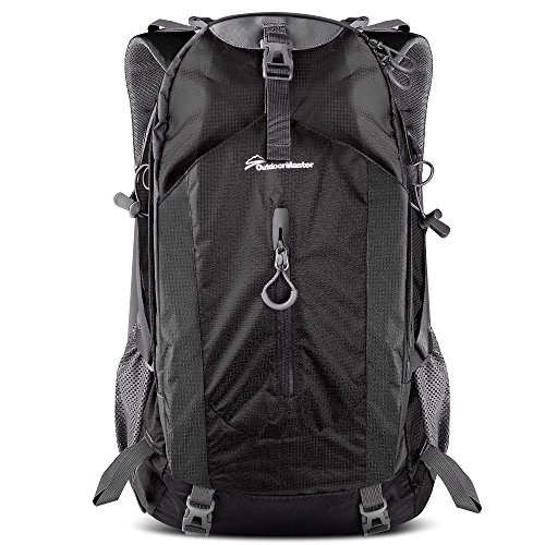 OutdoorMaster Hiking Backpack 50L - Weekend Pack w/Waterproof Rain Cover & Laptop Compartment - for Camping, Travel, Hiking (Black/Grey) - 50l Belt