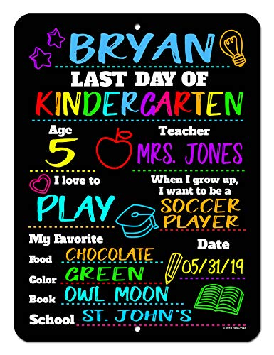 (Honey Dew Gifts Last Day of School HDG-1142 Chalkboard Style Photo Prop Tin 9 x 12 inch Sign - Reusable Easy Clean, Customizable with Liquid Chalk Markers (Not Included))
