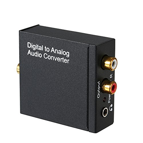 KKmoon Digital to Analog Audio Converter - Toslink and SPDIF/Coaxial Inputs to Analog RCA L/R and AUX 3.5mm Jack Support Headphone Outputs by KKmoon