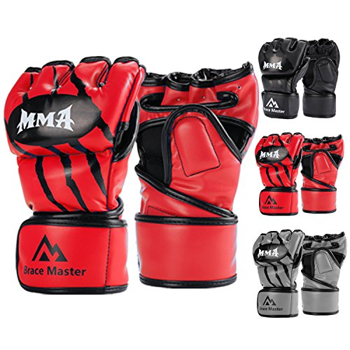 Brace Master MMA Gloves UFC Gloves Leather More Paddding for Men Women Knuckle Wrist Protection, Fingerless Sparring Gloves for Training, Kickboxing, Muay Thai, Boxing, Punching (Red, Small)