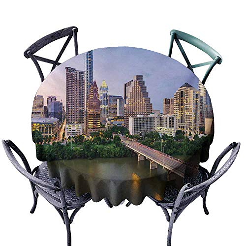 VIVIDX Custom Tablecloth,Modern,Austin Texas American City Bridge Over The Lake Skyscrapers USA Downtown Picture,for Events Party Restaurant Dining Table Cover,50 -