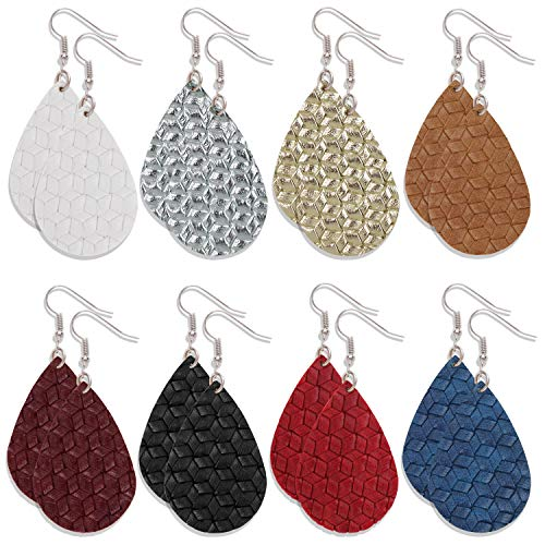 Onory 8 Pairs Leather Earrings Lightweight Faux Leather Leaf Earrings Teardrop Dangle Drop Earrings for Women Girls (D)