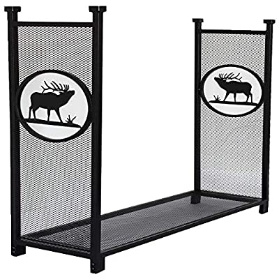 Firewood Log Rack for Outdoor, Heavy Duty Log Storage Holder Fire Wood Pile Racks for Fireplace Patio with Special Elk Pattern