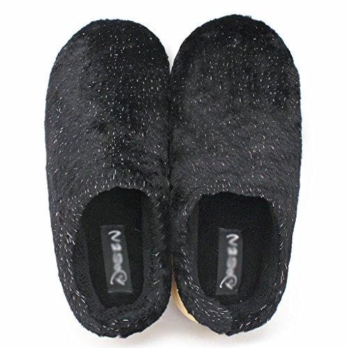 Intérieur Pur Anti Chaussons Pantoufles Dérapant Chaleur et DWW Coton Noir Extérieur Épaisse de qxISfXI0