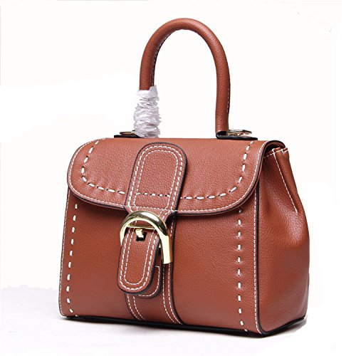 - Crystalzhong Old Windmill Suture Ladies Handbag Leather Buckle Saddle Bag Wild Tote Bag (Color : Brown)