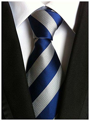 Allbebe Men's Classic Striped Blue Grey Jacquard Woven Silk Tie Formal Necktie