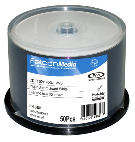 FalconMedia SmartGuard Glossy White Inkjet CD-R - 52x, 700mb/80 Minute, Hub-Printable, Water Resistant - 50 Pack by FalconMedia