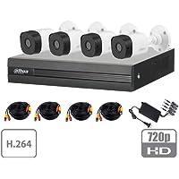 DAHUA COOPER XVR1A04KIT - Kit 4 canales 1 Megapixel/ 4 Camaras B1A11 720p/ DVR de 4 Canales H.264 1080p Lite/ 1 Ch IP…