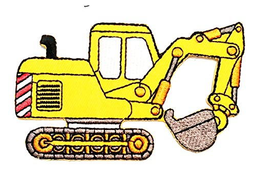 Nipitshop Patches Yellow Backhoe Excavator Tractor Loader Cartoon Embroidered Iron Patch Sew On Patch Clothes Bag T-Shirt Jeans Biker Badge Applique for Happy Birthday Gift