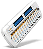 SunLabz Smart Rechargeable Battery Charger - AA AAA NiMH NiCD Batteries - 16 Bay Dock