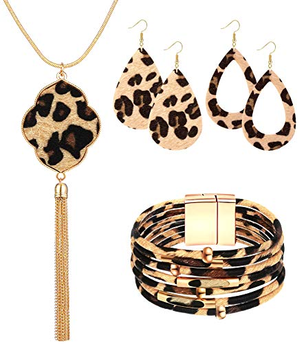Sunmoon Statement Leopard Jewelry Set for Women Leopard Leather Bracelet Teardrop Drop Dangle Earrings Long Tassel Pendant Necklace Christmas Jewelry Gift