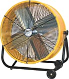 Maxx Air | Industrial Grade Air Circulator for Garage, Shop, Patio, Barn Use | 24-Inch High Velocity Drum Fan, Two-Speed, Yellow