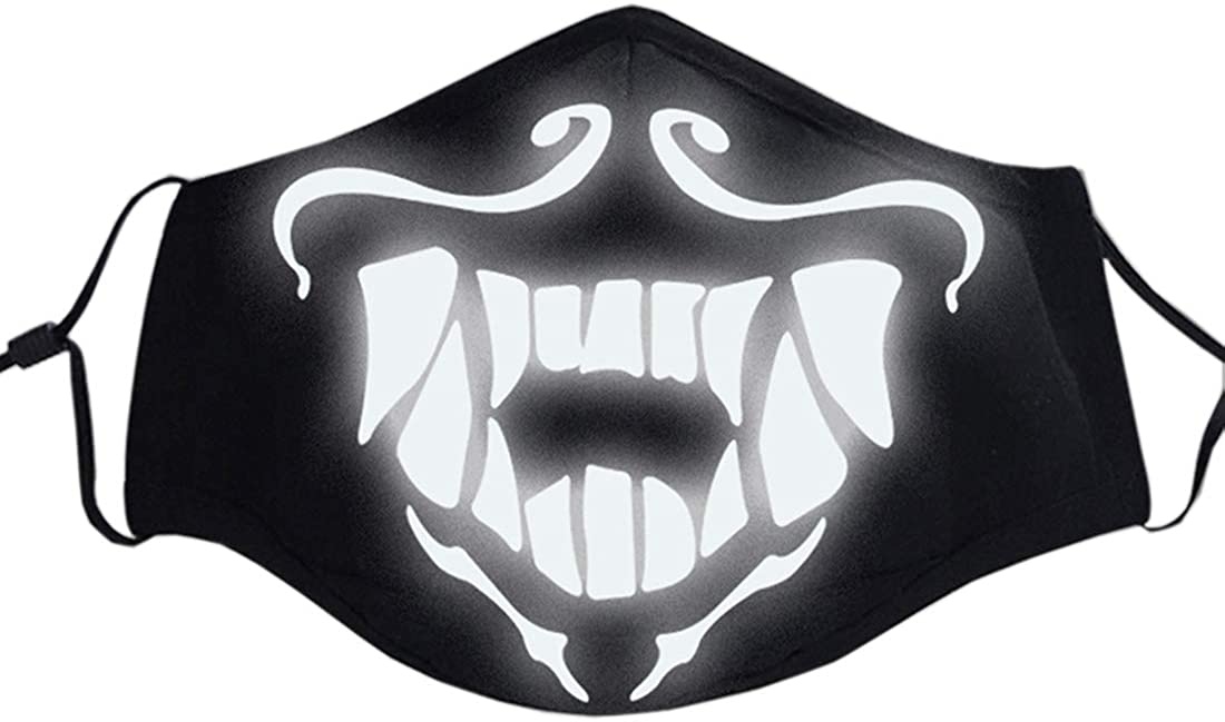 Luminous Windproof Mouth Mask Black Cotton Blend Dust Mask Skull Half Face Mask