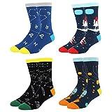 Men's Cool Space Funny Novelty Crew Socks Fun Math Rocket Cotton Socks 4 Pack Gift Box