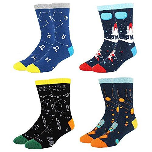 - Men's Cool Space Funny Novelty Crew Socks Fun Math Rocket Cotton Socks 4 Pack Gift Box