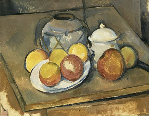 Berkin Arts Paul Cezanne Giclee Canvas Print Paintings Poster Reproduction LARGE SIZE (Straw-Trimmed Vase Sugar Bowl and Apples) Cezanne Canvas Vase