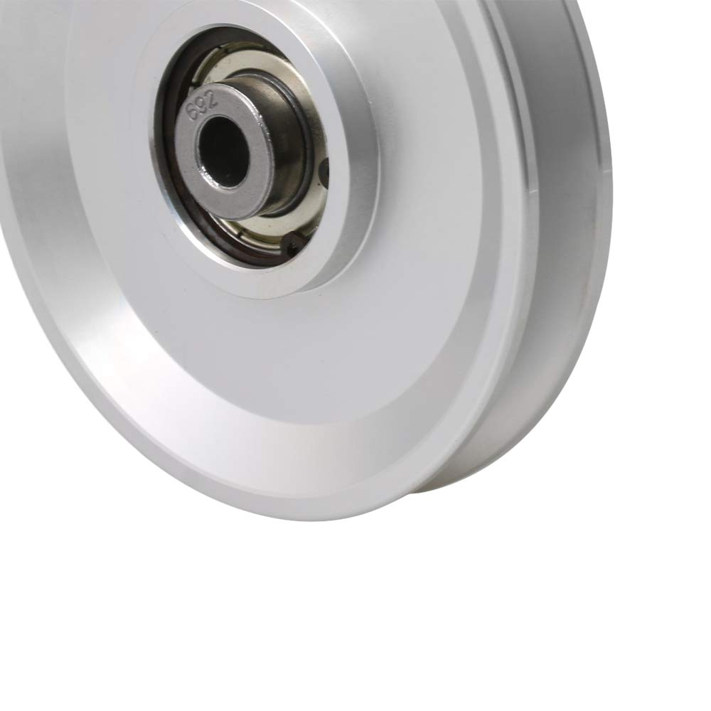 Yibuy 10x73x19.5mm Rolling Bearing Pulley Wheel Load Bearing 145kg Silver