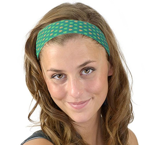 St. Patricks Day Gold and Green Mini Clovers Fun Soft Skinny Headband One Size