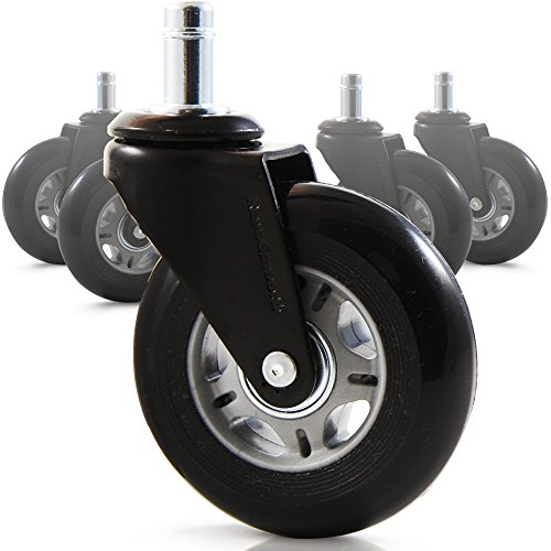 RevoSmooth Premium Rollerblade Style Rubber Office Chair Caster Replacement, Set of 5 (3