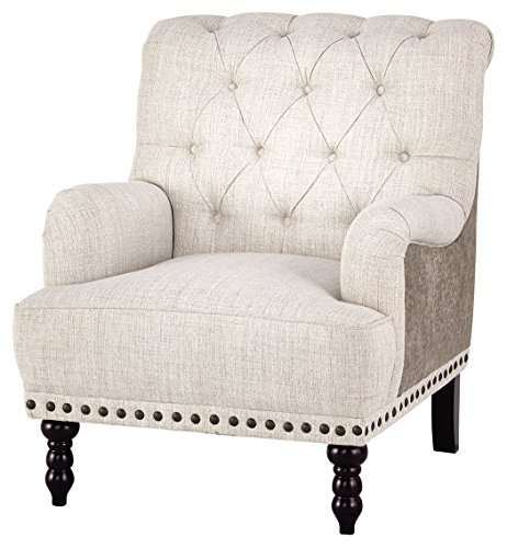 (Ashley Furniture Signature Design - Tartonelle Accent Chair - Ivory/Taupe Fabric - Nailhead Trim - Black Finish Legs)