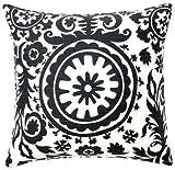 Jiti African Suzani Throw Pillow, Linen/Rayon, 24-Inch Square, Grey