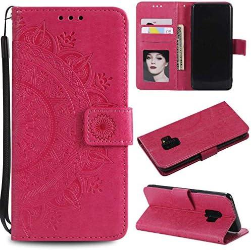 OMATENTI Galaxy S9 ケース, 高級感PU財布型 フリップケースー, ド収納ホルダー付き ストラップ付き 落下防止 全面保護 衝撃吸収 保護カバー 押し花柄, 赤