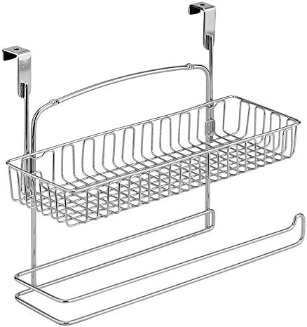Office Chrome iDesign Classico Metal Over the Cabinet Plastic Bag Holder for Kitchen Bathroom Pantry 5.5 x 6.5 x 2 Dorm Room