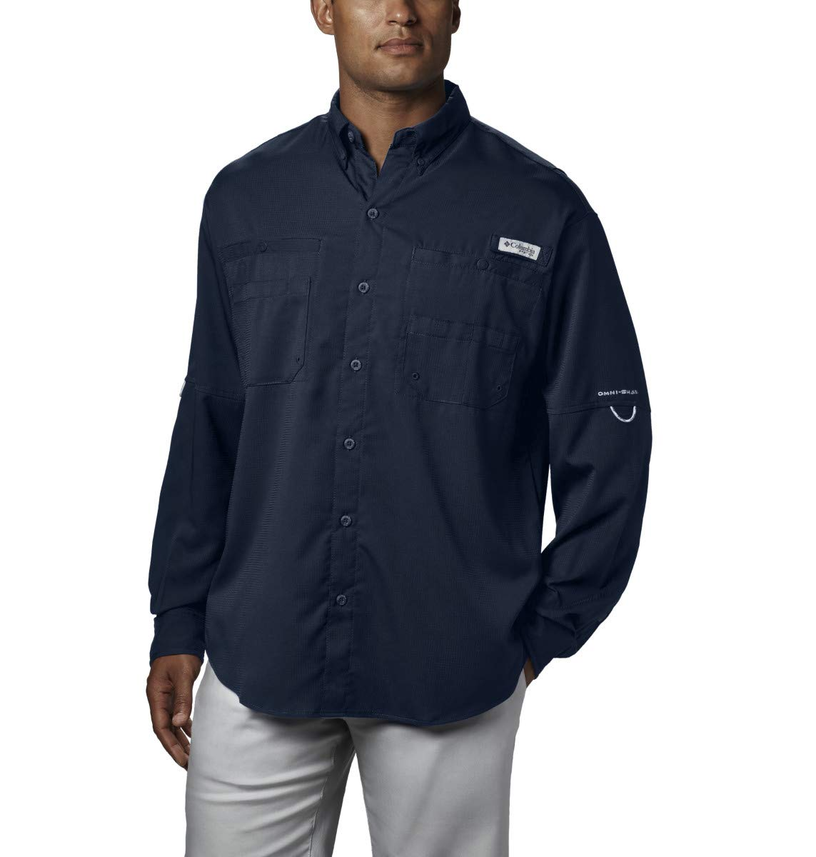 Columbia Men's PFG Tamiami II Long Sleeve Shirt - Big , Collegiate Navy, X-Small