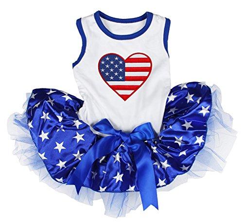 Petitebella USA Heart White Shirt Blue Stars Tutu Puppy Dog Dress (X-Small)