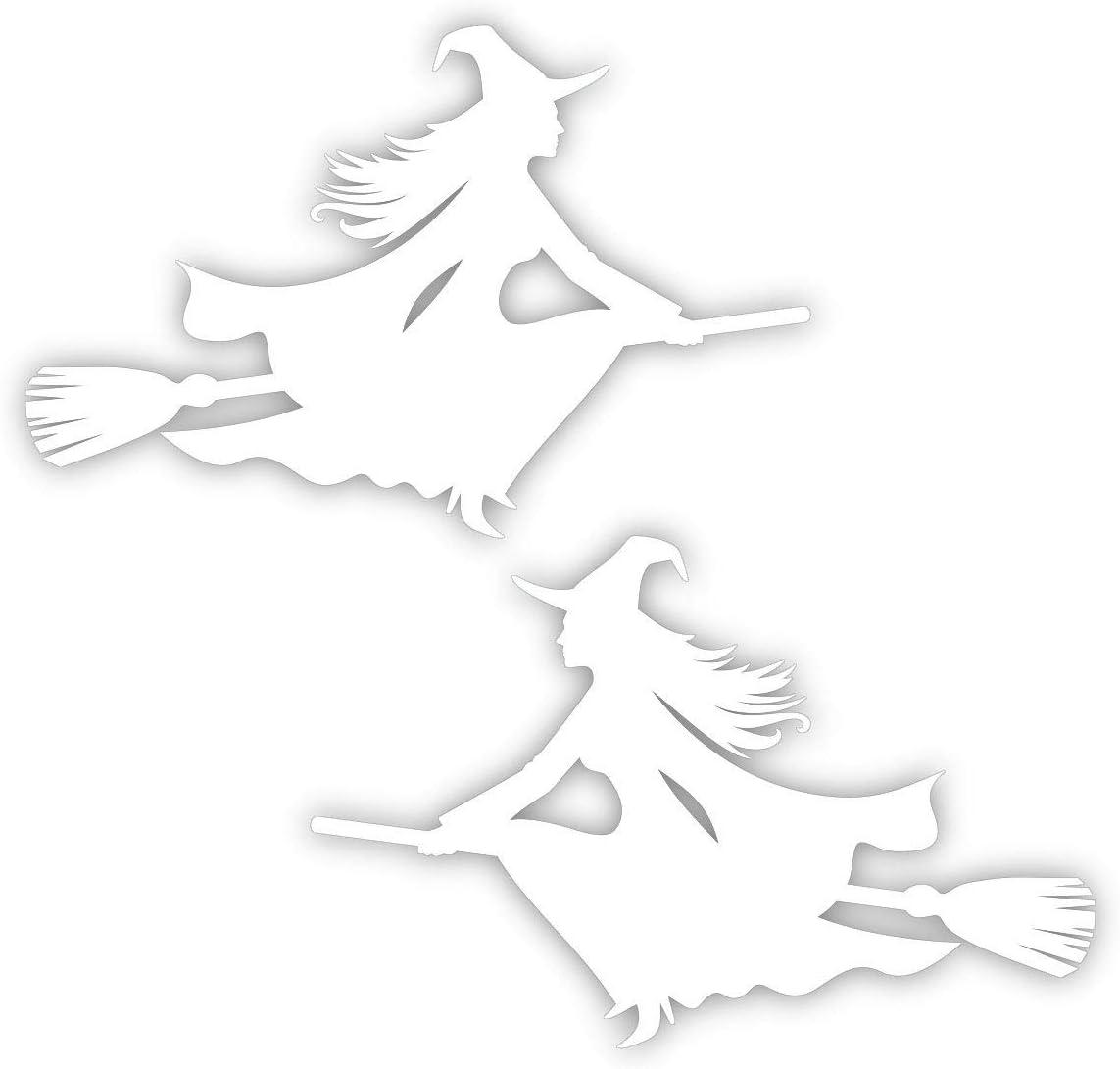 Aufkleber Hexe Auf Besen 2er Set Weiß 15x10 Cm Art Kfz 509 Set Außenklebend Für Auto Lkw Motorrad Moped Mofa Roller Fahrzeuge Uv Und Witterungsbeständig Für Waschanlagen Geeignet Auto